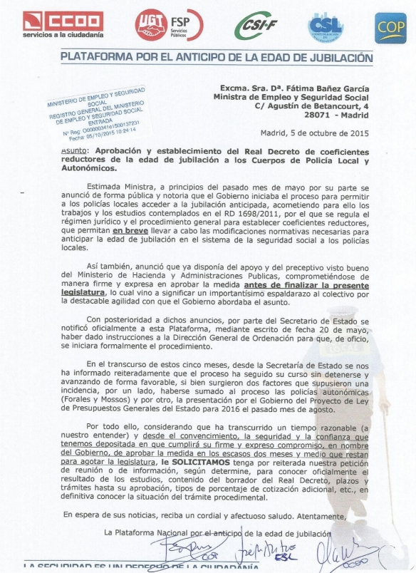 Carta jubilación anticipada.