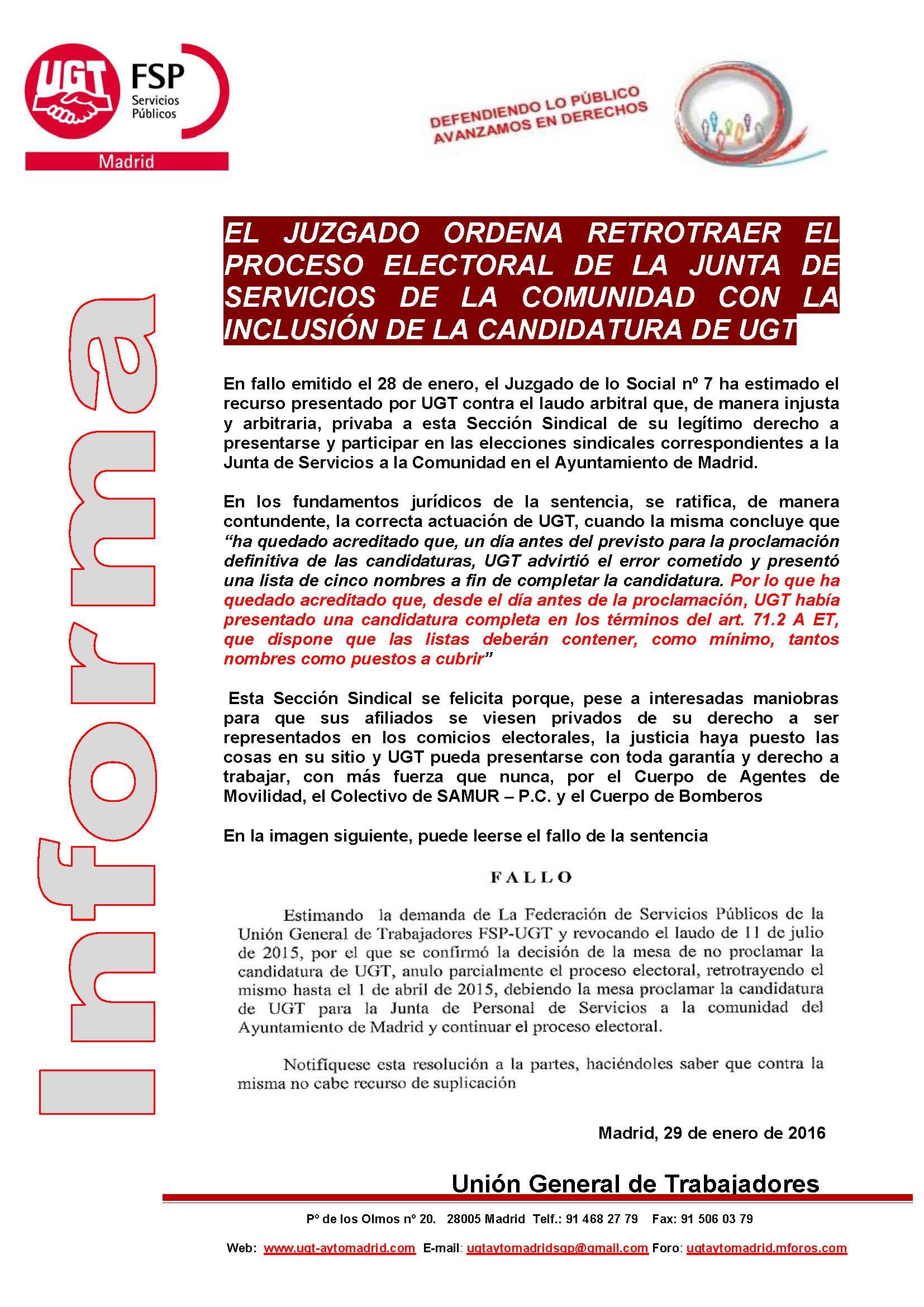 Informa sentencia contra laudo elecciones sindicales
