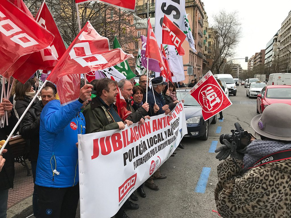 Concentración 23M  por la jubilación anticipada Policia Municipal en la Delegación del Gobierno de Madrid